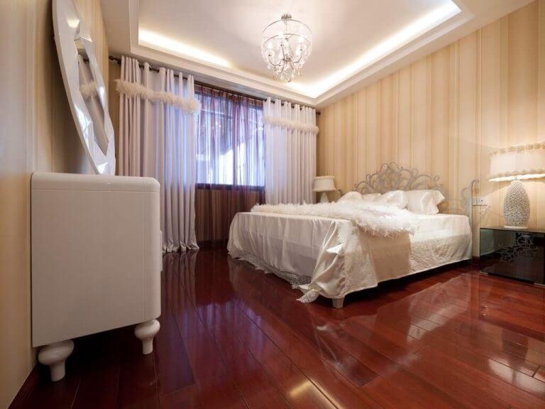 וילון לחדר שינה לבן חום